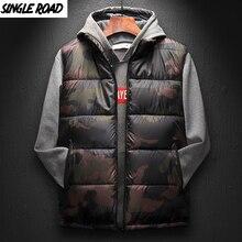 SingleRoad Chaleco de invierno para hombre 2019 camuflaje Bodywarmer chaqueta sin mangas Hombre ultraligero cálido negro para hombre abrigo de algodón a prueba de viento