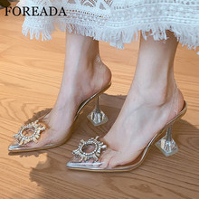 FOREADA Women Shoes Pumps Transparent Strange Style High Heel Shoes Slingbacks Pointed Toe Pumps Crystal Lady Party Footwear 40 цена 2017