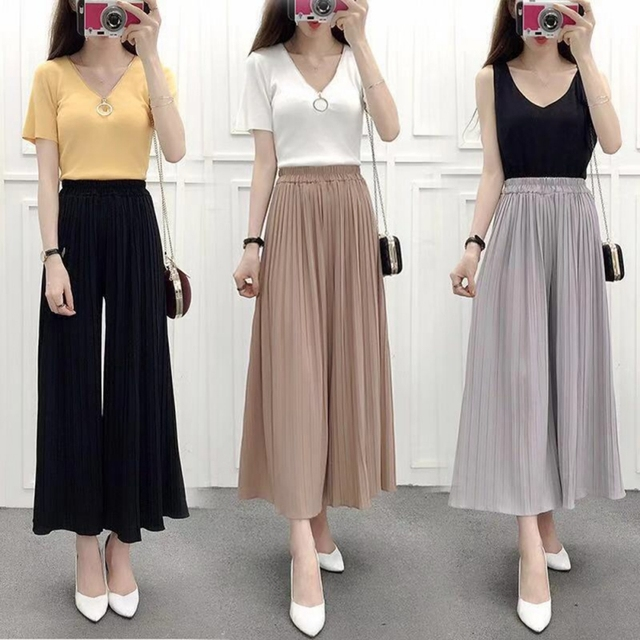 Women Sweet Pleated Loose Thin Wide Pants