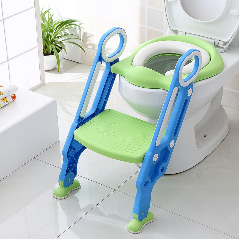 3Colors Children's Soft Fold-able Adjustable Toilet Seat Baby Potty Infant With Adjustable Ladder Urinal Potty Training Seat HWC