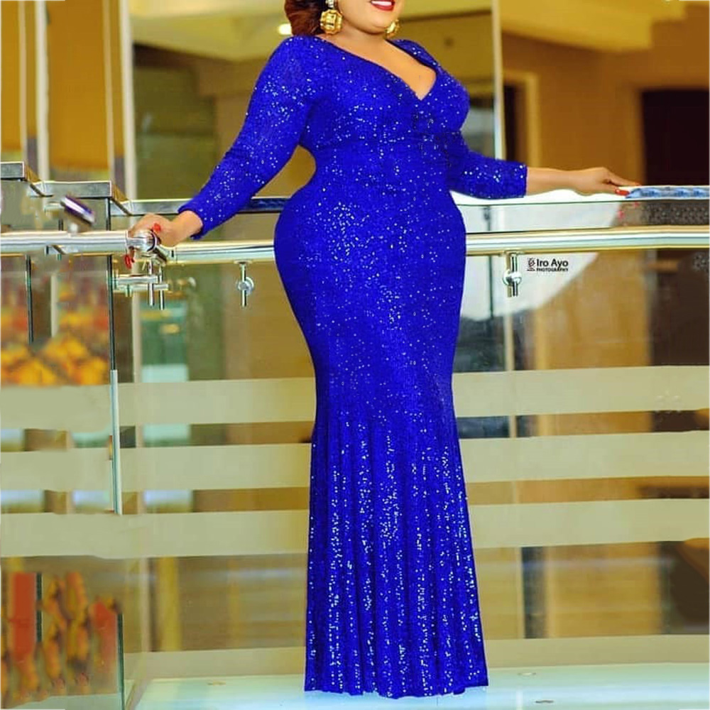 African Women Formal Evening Dinner Sequin Plus Size Dress
