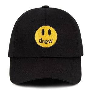 Drew Justin Bieber шапка со смайликом для папы 100% хлопок DREW house бейсболка с фрагментом Бейсболка унисекс уличная трендовая Кепка s
