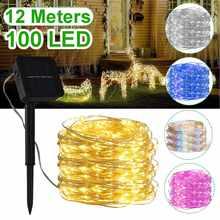 Mising LED extérieur lampe solaire chaîne lumières 100LED s 12 mètres aéré vacances noël fête guirlande solaire jardin étanche