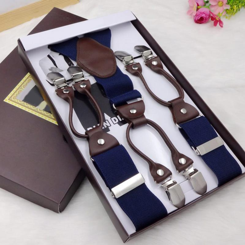Vintage Leather Elastic Woven Tape Alloy 6 Clips Male Casual Suspenders Commercial Western-style Trousers Man's Braces Strap#730