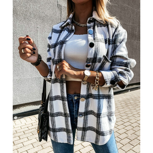 tweed women vintage oversize plaid long shirts 2020 autumn chic ladies streetwear loose shirt elegant female outfits girls