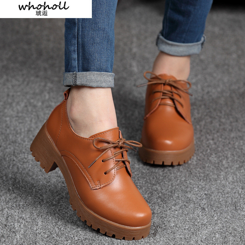 WHOHOLL Spring\winter British Style Split Leather Women Square Heel Flat Platform Shoes Woman Lace-up Oxford For