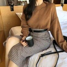 Plus rozmiar Harajuku długa spódnica koreańska krata spódnica kobiet zamek wysokiej talii szkoła dziewczyna plisowana, w kratę spódnica w stylu vintage długie spódnice