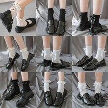 Cotton Socks Cute Lace Bow Tie Japanese Lolita Style Women's Cotton Socks Fashion Black And White Harajuku Female's Socks
