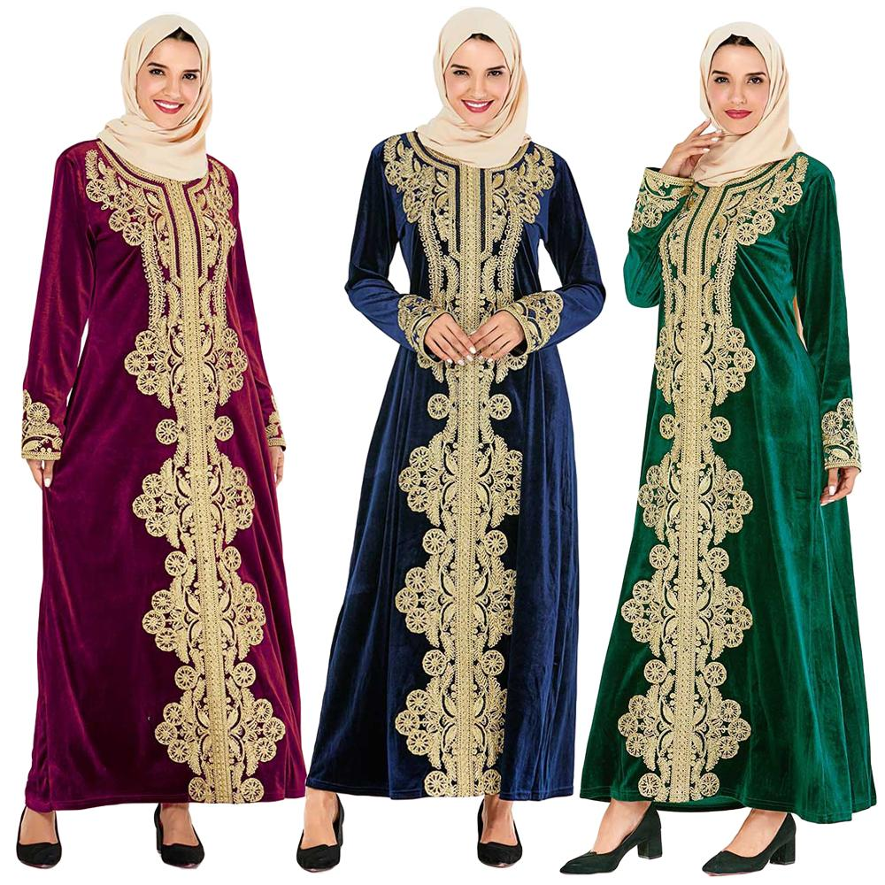 Velvet Muslim Women Long Dress Warm Kaftan Embroidery Loose Islamic Jilbab Robe Femme Clothing Casual Turkay Dubai Arab Dresses