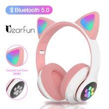 Écouteurs Bluetooth sans fil avec micro, lumière Flash, oreilles de chat mignonnes, casque de musique stéréo pour enfants filles, casque de téléphone, cadeau