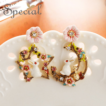 Special European and American S925 Silver ins Earrings with the Heart of Girl Rabbits Rabbit from Di
