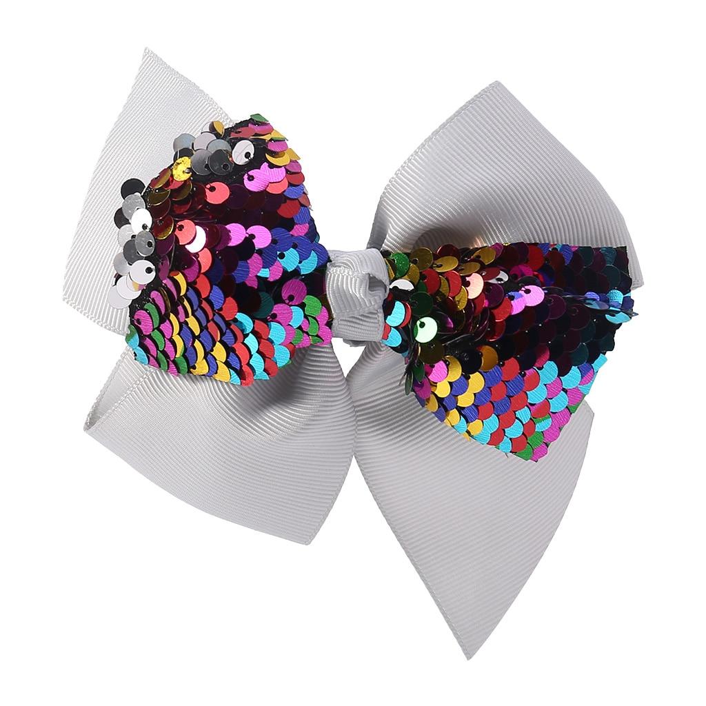 Заколка для волос для малышей, девочек, бант, Блестящие Блестки, милые аксессуары для принцессы, детские шпильки D08C - Цвет: Серый