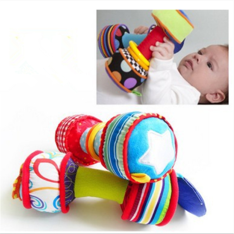 Hand Plush Dumbbell Rattles Toys Hand Bells Baby Dumbbell Barbell Baby 0-12 Month Plush Education Toys For Children