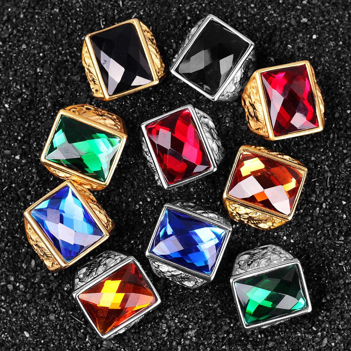 Stainless Steel Men Rings Rhinestone Dragon Phoenix Luxury Rich Unique Amulet for Male Boy Jewelry Creativity Gift Wholesale