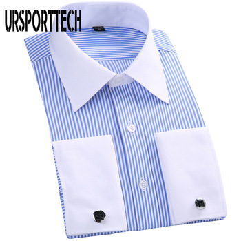 Men Long Sleeve Shirt Spring Striped Men French Cufflinks Casual Shirt White Collar Design Mens French Cuff Dress Shirts M-6XL contrast collar and cuff grid dress