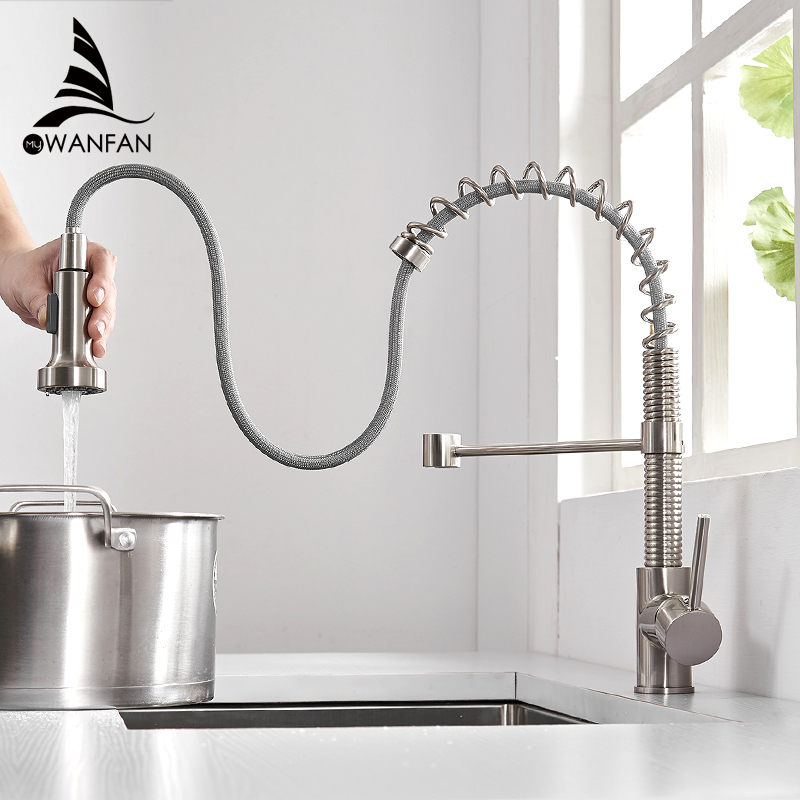 Kitchen Faucets Brushed Nickel Faucet For Kitchen Sink Single Lever Pull Out Spring Spout Mixers Tap Hot Cold Water Crane 866053