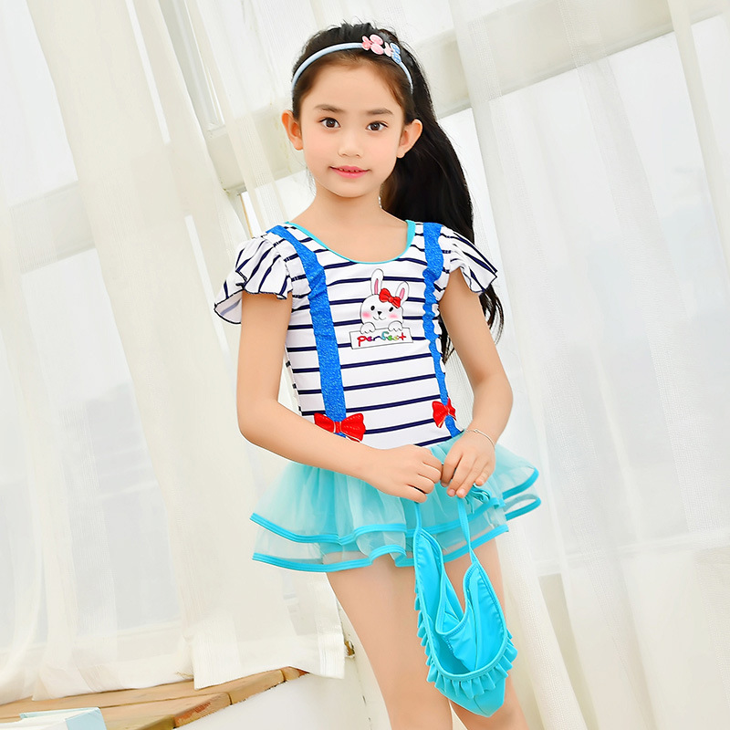 KID'S Swimwear Girls Cartoon Stripes Cute Bunny Bathing Suit Children One-piece Swimming Suit Spa Resort Swimwear