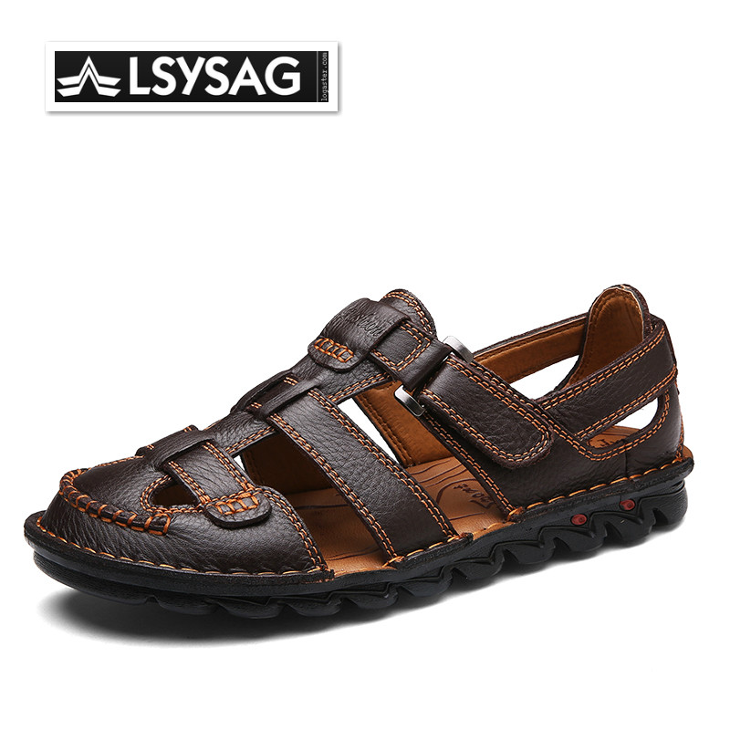 Sandals Men Summer Genuine Leather Sandals Slippers Fashion Man Outdoor Breathable  Casual Shoes Zapatos Hombre Big Size 38-48