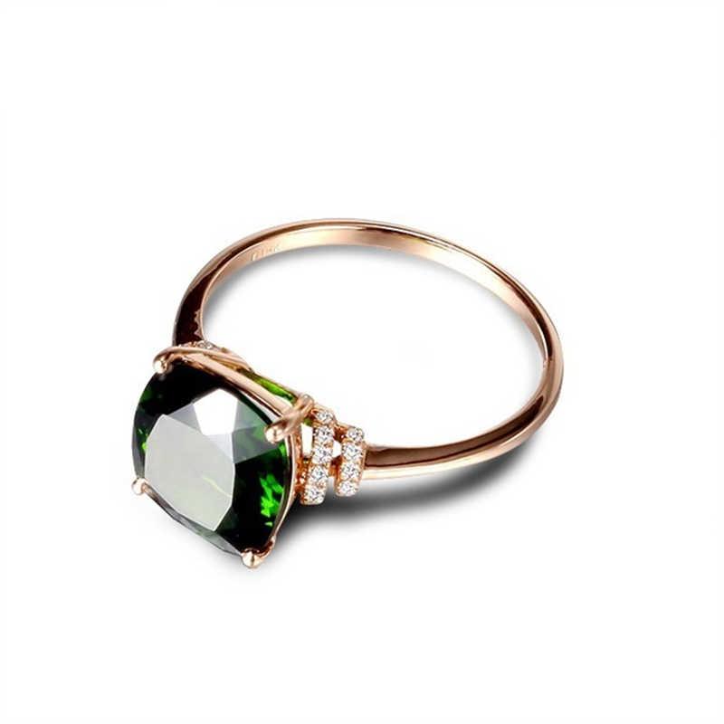 Ataullah naturalne Diopside pierścionki ze srebra próby 925 18k pozłacane inkrustowane z 3A kamień cyrkonowy pierścień Fine Jewelry dla kobiety prezent RW084