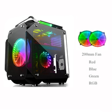 ATX Computer Gamer Case Tempered Glass Full Transparent Mirror Open Desktop Case With 2X20cm Color RGB Fan Cooling Kits