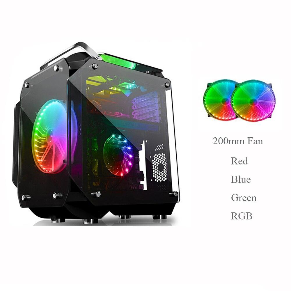 ATX компьютерный геймер чехол из закаленного стекла полностью прозрачный зеркальный Открытый Чехол для рабочего стола с 2X20 см цветным RGB вентилятором комплекты охлаждения|Компьютерные корпуса|   | АлиЭкспресс