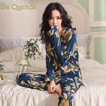 Lente Herfst Pyjama Katoen Pluche Lady Homewear Vrouwen Pyjama Set Plus Size Bloemen Printing Vrouwen Pyjama Marine Luxe Loungewear