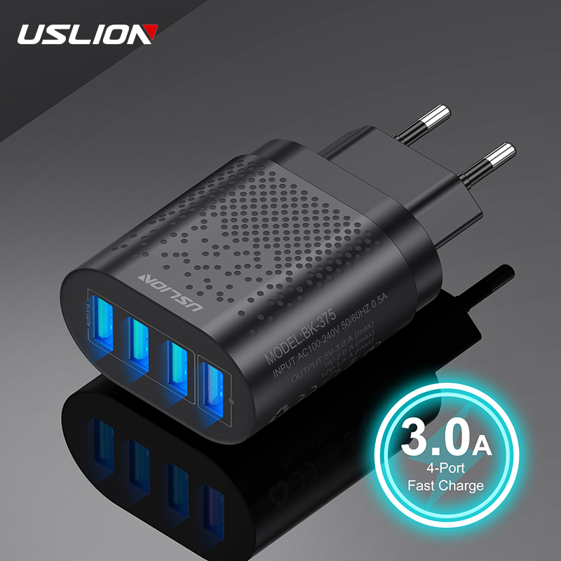 USLION Quick Charge 3.0 USB Charger 4 Ports Fast Charging Wall Mobile Phone Charger Universal Adapter For iPhone Samsung Xiaomi