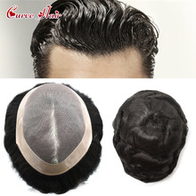 Mens Toupee Hairpiece Monofilament Remy-Hair-Replacement Man Fine-Mono Stock Poly-Coating