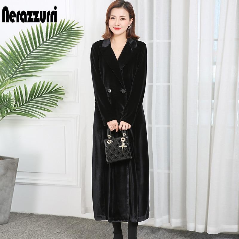 Nerazzurri 2020 Spring Womens Clothes Double Breasted Peaked Lapel Long Sleeve Long Velvet Coat Plus Size Maxi Overcoat Women