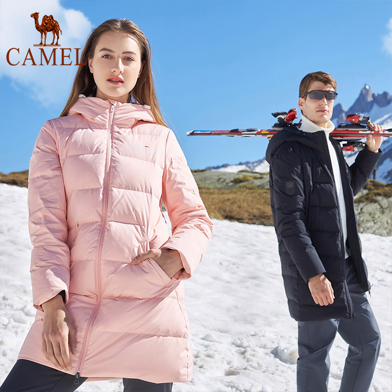 Camel Couple Down Jacket Men Women Winter Zipper Windproof Warm 80% White Duck Down Hooded Hiking Outdoor Loose Long Coat XXXL