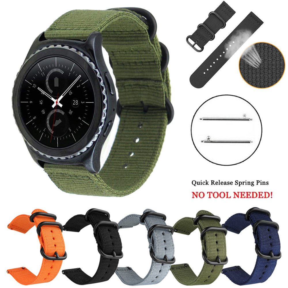 22mm Woven Nylon Watch Sport Strap Band For Samsung Gear S3 Galaxy Watch 46mm Replacement Watchband Canvas Fabric Band