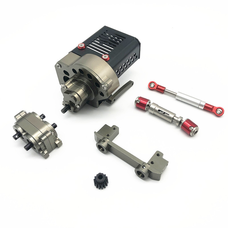 Complete Set CNC Metal Front Motor Gearbox Transmission Box With Gear For <font><b>1/10</b></font> RC Crawler Car Axial SCX10 DIY OP <font><b>Accessories</b></font> image