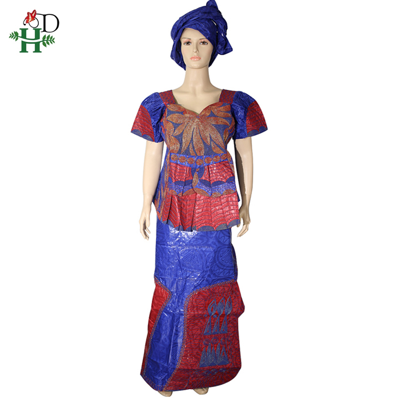 H&D African Dresses For Women Bazin Riche Skirt Short Rapper With Scarf Embroidery Dashiki Lady Tops South Africa Female Clothes