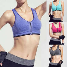 Hirigin Women Zipper Push Up Sports Bras Vest Underwear Shockproof Breathable Gym Fitness Athletic Running Yoga Bh Sport Tops(China)
