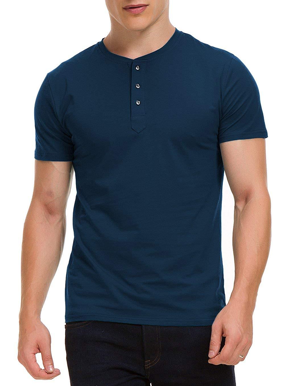 Men's Casual Slim Fit Short Sleeve Henley T-Shirts Cotton Shirts Beach Style  Cotton  Cotton