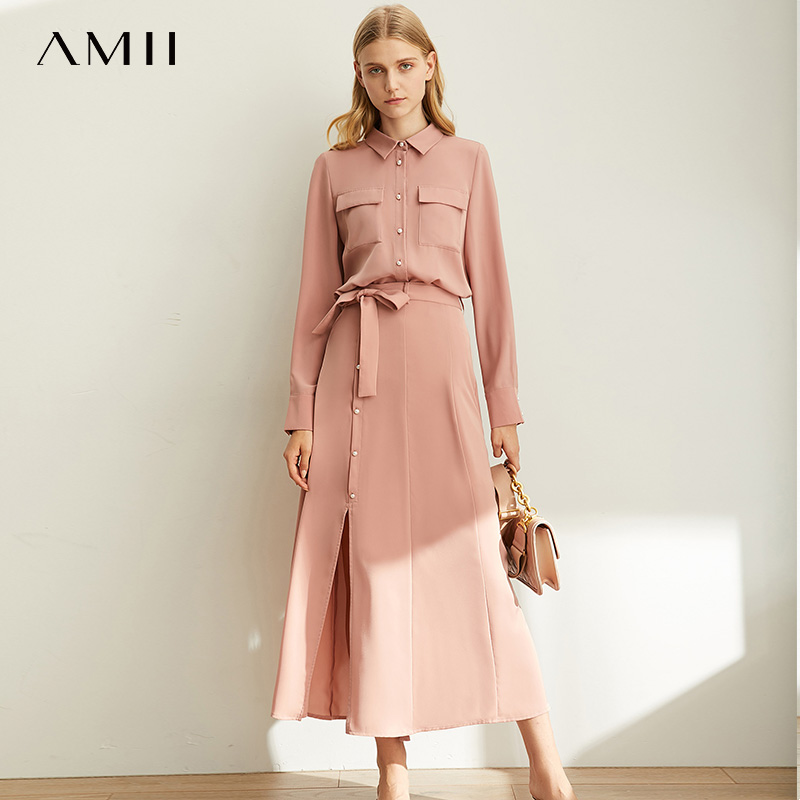 Amii Spring Minimalist Hong Kong Chic Sytle Internet Celebrity Suit Women New Solid Color Chiffon Shirt With Belt Skirt 11980059