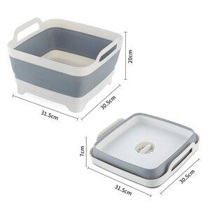 Image 5 - Portable Folding Bucket Foldable Basin Outdoor Travel Foldable Camping Washbasin Fruit Basin Bowl Sink Household Cleaning Tools