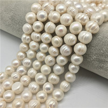 Big Hole 11-12MM  Potato Shape 14 Cultured Natural Pearls Freshwater Necklace for Jewelry Making Diy