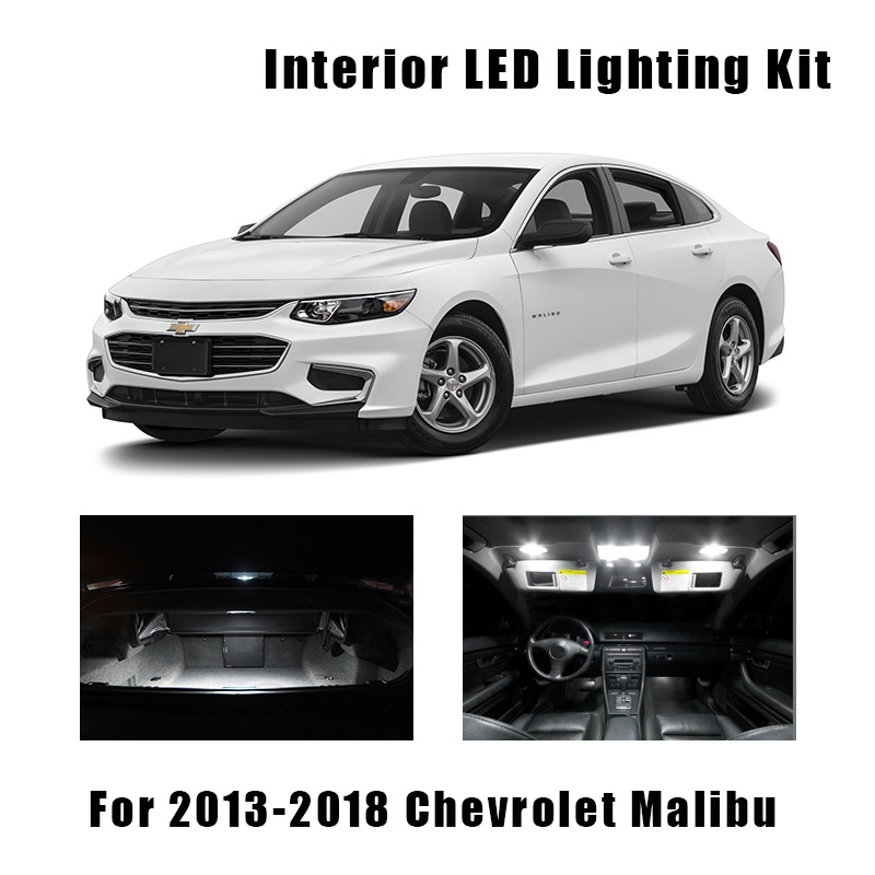 11pcs White LED Light Car Bulbs Interior Kit Fit For Chevrolet Malibu 2013-2016 2017 2018 Dome Ceiling Trunk Mirror License Lamp