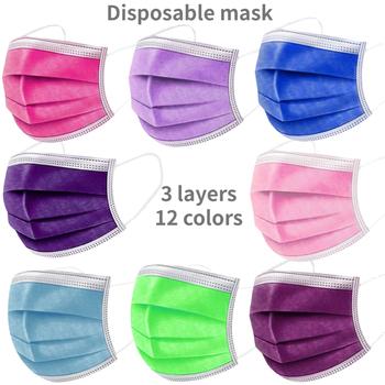 10-100 sztuk jednorazowe włókniny 3-warstwa maska z filtrem fioletowy różowy #8222 zielony owoc #8221 maska ochronna na twarz dla dorosłych oddychające Multicolor maska tanie i dobre opinie LovelyDaisy Z Chin Kontynentalnych osobiste NONE Dla osób dorosłych Non-woven fabric + melt-blown fabric 3 Layer Ply Filter Mask