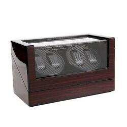 Drewniana automatyczna nakręcarka zegarków na 4 zegarek mechaniczny nawijarki wyświetlacz do przechowywania podwójna głowica silnika Watchwinder