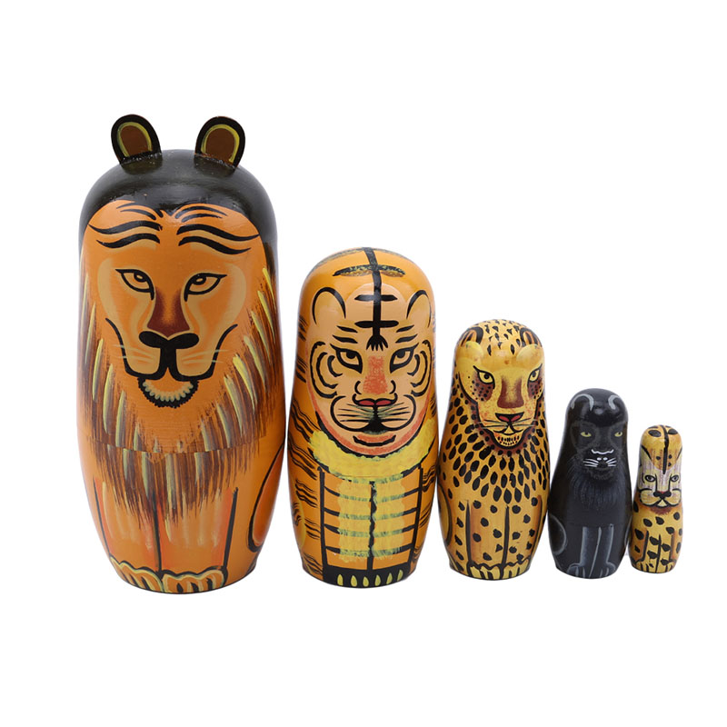 5 шт., набор деревянных игрушек, русские Матрешки, ручная роспись, животные, Лев, Матрешка, куклы, игрушки для детей, Детский подарок