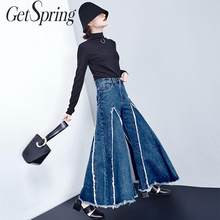 GETSPRING Women Pant Burr Irregular Flare Denim Pants Color Matching High Waist Jeans Wide Leg Pants 2019 New Fashion Autumn(China)