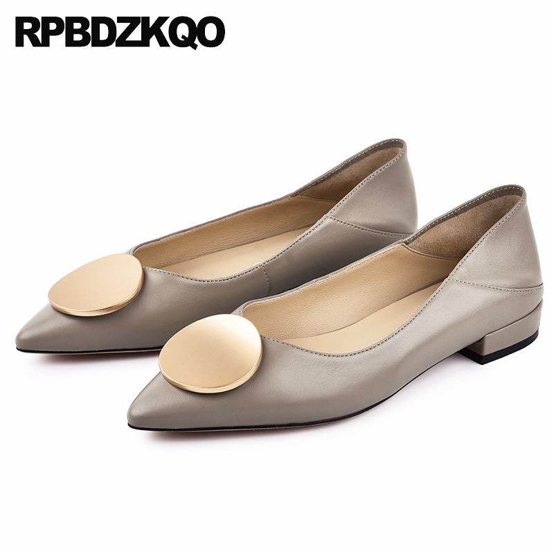 ladies beautiful flats shoes china slippers mules genuine leather work gray women slip on chinese pointed toe custom designer