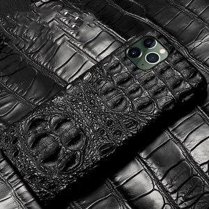 Image 4 - תנין אמיתי עור מקרה עבור Iphone 11 פרו מקסימום 11 מקורי עור חזרה כיסוי עבור iphone 12 פרו מקס xs max xr coque fundas
