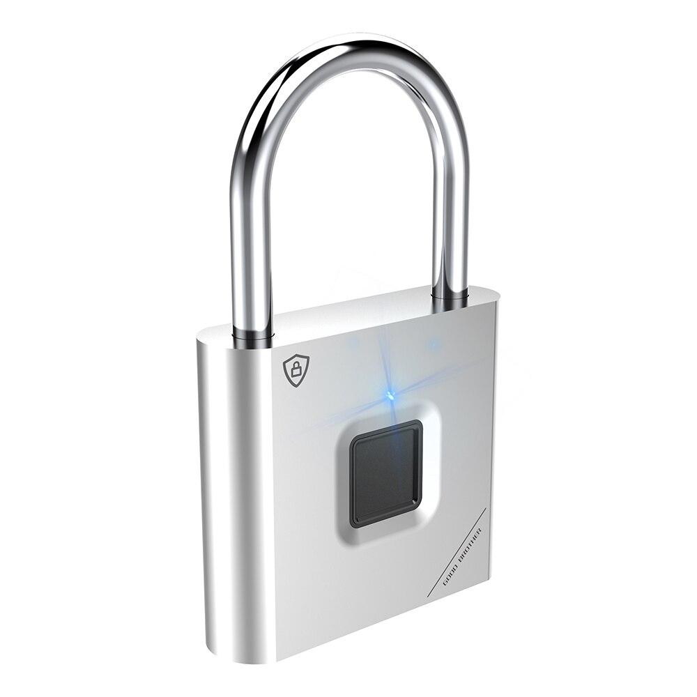 Thumbprint Door Padlocks Rechargeable Door Lock Fingerprint Smart Padlock Quick Unlock Keyless USB 4