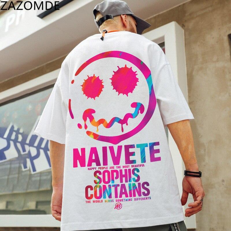 ZAZOMDE в стиле «хип-хоп», футболка улыбки футболка уличная мужские стильные свободные футболки японский стиль Харадзюку футболка с длинным ру...