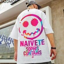ZAZOMDE Hip Hop Tee sonrisas T camisa Streetwear hombres Cool camiseta suelta Japón, Harajuku, camiseta de verano de calle corto Tops de manga