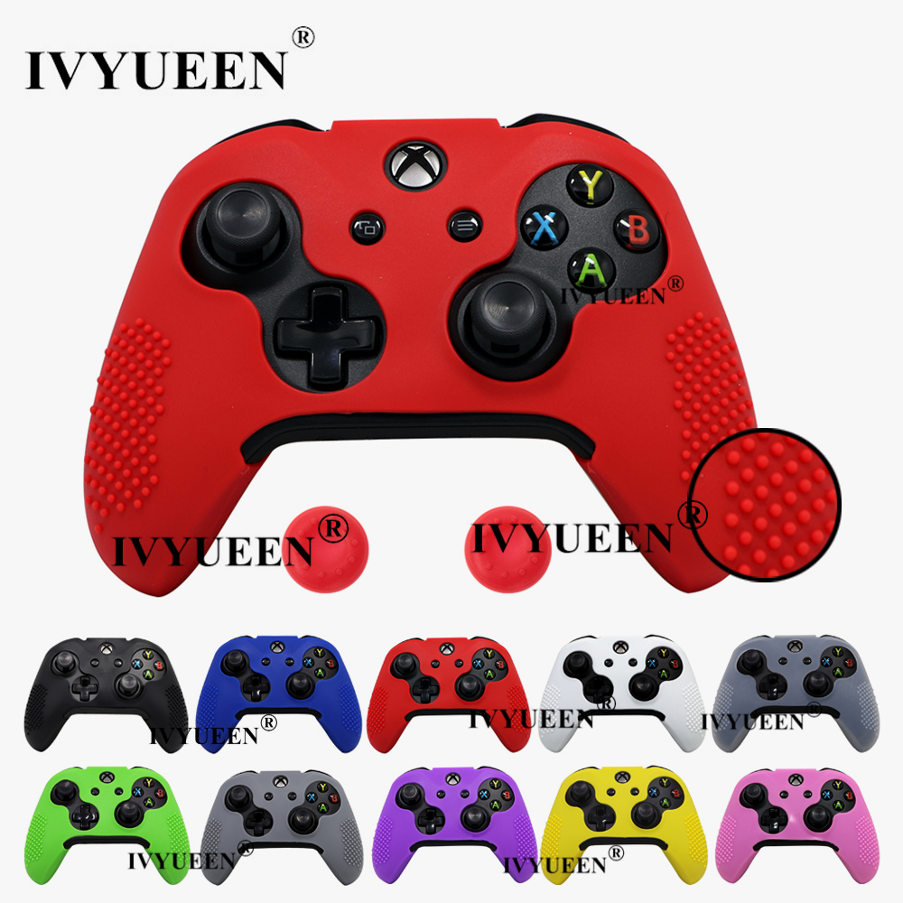 IVYUEEN Anti-slip Silicone Skin For Microsoft Xbox One X S Slim Controller Protective Case Cover With Thumb Grips Caps-12 Colors
