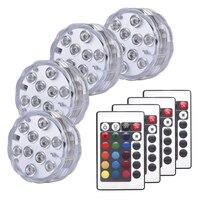 Luz sumergible RGB con Control remoto, luces subacuáticas impermeables IP68 para estanque, piscina, lámparas de noche decorativas para acuario